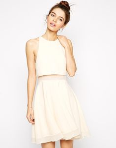 Asos Sheer and Solid Skater Dress on ShopStyle