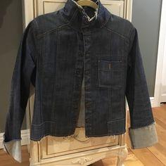Guess raw denim snap front jacket Large Guess raw denim jacket with front snaps. Worn a few times no damages. Guess Jackets & Coats Jean Jackets