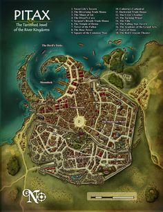 Copyright Paizo Publishing LLC. A couple more maps for Paizo. City map for Pitax, city on the Pathfinder roleplaying game located in the River Kingdoms, on the world of Golarion. The numbering and ...