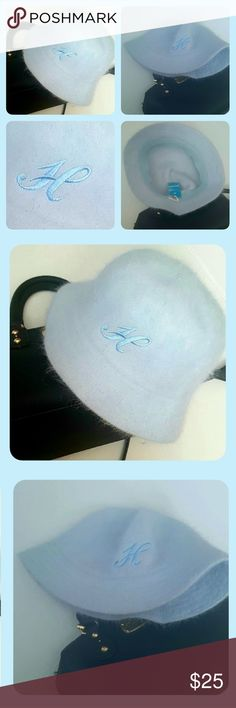❄❄Monogramed {H} Cotton Candy Blue Hat❄ 90% Angora ❄❄SuchFeminine and Classy Hat❄❄  ❄❄❄  Embroidered letter H  ❄❄❄  - Super warm - Very soft and fuzzy material  - 90% Angora, 10% Nylon   ❄❄This is new with tags Halo Accessories Hats