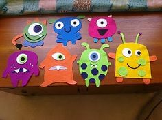 Cute monster designs- made with felt, to be put around classroom walls