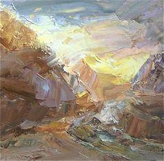 Lynette Jennings  Bright Valley   Oil on Board  H 10.75in x W 10.75in
