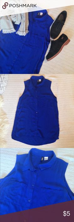 ✨H&M Royal Blue Sleeveless Blouse✨ Beautiful flowing blouse. No longer fits me, since I lost all baby weight. Size 10 M Excellent used condition Divided Tops Button Down Shirts