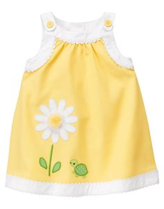 Bold appliquéd daisy bloom and polka dot turtle accented with tulle and embroidery add charming detail to crisp cotton pique style. Our darling jumper features sweet rickrack trim at the bodice and hem. Toddler Dress, Toddler Outfits, Baby Outfits, Baby Dress, Toddler Girl, Kids Outfits, Little Dresses, Little Girl Dresses, Cute Dresses