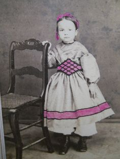 Beautiful little girl in pretty pink dress~Tax Stamp, hand-tinted Antique Victorian CWE CDV Photo.