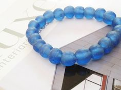 Blue Recycled Glass Bracelet / Recycled Glass / by minxandmaven
