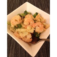Easy thai style shrimp with broccoli and califlower. -steam half a cup broccoli, and half a cup cauliflower - saute garlic cloves then add about 5 ounces of shrimp. Season with salt and pepper. -Then add 1/4 cup coconut milk and some fish sauce. -Add your steamed veggies to the pan to soak in the flavor. Done! For more healthy recipes visit www.honestlyfitness.com