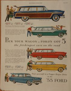 "1955 Ford Wagon - ""The Fetchingest cars on the road"" #vintage #car"