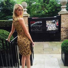 Before her trip to Paris, she stopped off in London where she stunned in a gold embellished dress alongside at a party for the opening of Michael Kors' flagship store in Regents Street
