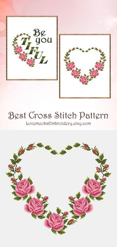 "This is a set of two modern cross stitch patterns of ""Be You Tiful"" and ""Floral Heart"" for instantly downloadable after purchase, so you can start stitching right away! Embroider with pleasure and decorate your house with your beautiful works!"