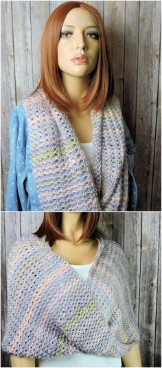 Easy Crochet Scarf Patterns for Beginners: We all know that winter season is common soon and for the ladies wearing scarves is the top most favorite clothing item in their. Crochet Scarves, Crochet Shawl, Easy Crochet, Crochet Clothes, Knit Crochet, Crochet Cowl Free Pattern, Free Crochet, Crochet Patterns, Crochet Ideas