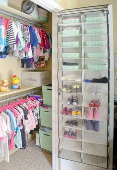 Add storage to a baby's closet with an inexpensive shoe organizer. Click for more closet ideas that will grow right along with baby