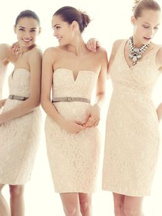 b5464640fbe Bridesmaids in neutral champagne from JCrew. I like the look of lace if  bride is