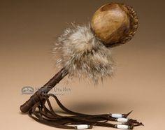 "Native American Indian Rawhide Rattle 11.5"" -Tigua  (134)"