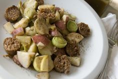 Sweet Andouille Sausage, Leeks and Brussels Sprouts with Apple Cider Glaze
