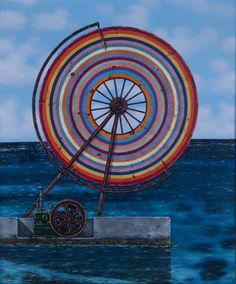 """""""Rainbow Wheel at Gwelly Bay"""" by Graham Foster, 2015. Acrylic on wood. For sale on lushergallery.com. #grahamfoster #artforsale #lushergallery"""