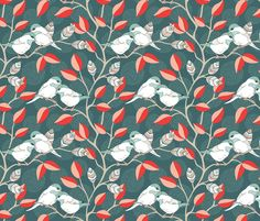 Love Birds - Twilight Palette fabric by pattysloniger for sale on Spoonflower - custom fabric, wallpaper and wall decals