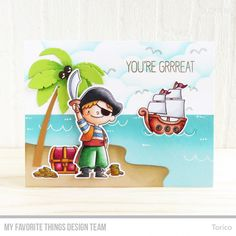 Party Like a Pirate Stamp Set and Die-namics, Beach Scene Builder Die-namcis, Cloud Stencil - Torico  #mftstamps