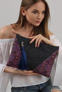 Kadın Jean Mor Şal Desenli Diyagonal Clutch