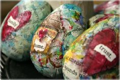 Now, I know that you are not supposed to put all of your eggs in one basket....  covered with book pages and scraps of paper. See this link for a Halloween edition of eggs: http://homegrownhospitality.typepad.com/homegrown_hospitality/2012/09/eggs-for-halloween.html#