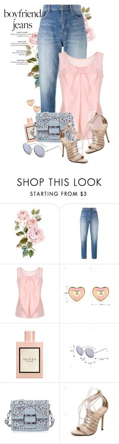 """""""Boyfriend jeans"""" by yexyka ❤ liked on Polyvore featuring Yves Saint Laurent and Gucci"""