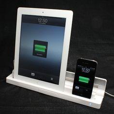 【新型iPad iPhone4S 対応】 Dockコネクタ2機(iPad用・iPhone用)搭載 充電スタンド(Dual charger)