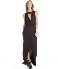 Single Dress black leather accent stretch 'Allie' cut out detail sleeveless dress