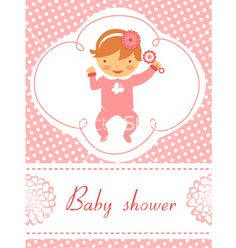 Baby shower girl with rattle vector on VectorStock®