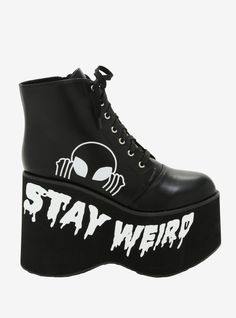 You'll be closer to the UFO when you're getting abducted if you're wearing these babies. The black faux leather booties have a white sneaky alien head printed on the outside of the boot over a dripping Dr Shoes, Goth Shoes, Me Too Shoes, Emo Outfits, Grunge Outfits, Cute Outfits, Diy Punk, Kawaii Shoes, Aesthetic Shoes