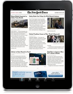 New York Times on tablet