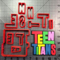 Teen Titans Logo Cookie Cutter Set JBCookieCutters.com customizes moldings, cookie cutters, cookie cutter, cutters, cutter, silicone mold, silicone molds, stencil, stencils, baking supplies, baking