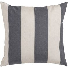 18 Gray and Ivory Thick Striped Decorative Throw Pillow $39.99