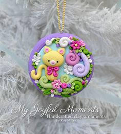 Handcrafted Polymer Clay Floral Kitty Scene  - made by Etsy seller My Joyful Moments.