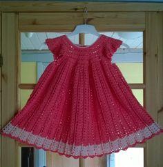 Toddler Dress, Baby Dress, Crochet Stitches, Crochet Patterns, Crochet Baby, Knit Crochet, Pinafore Skirts, Drops Design, Crochet Clothes