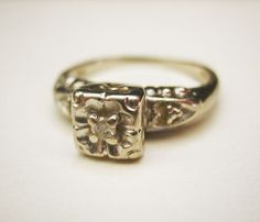 Vintage Art Deco White Gold Diamond Ring from jewelrydesign on Ruby Lane