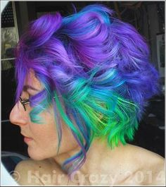 What I've used: Directions — Atlantic Blue Crazy Color — Cyclamen Directions — Fluorescent Glow Crazy Color — Hot Purple Directions — Turquoise tigrazza Crazy Color Hot Purple, Purple And Green Hair, Crazy Colour, Blue Green, Crazy Color Cyclamen, Funky Hairstyles, Pretty Hairstyles, Bright Hair, Colorful Hair
