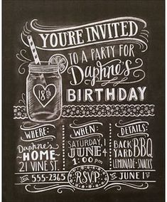 The Complete Book of Chalk Lettering by Valerie McKeehan - Read Online Chalk Lettering, Lettering Design, 21 Vine, Youre Invited, 8th Birthday, Rsvp, Chalkboard, Invitations, Flourishes