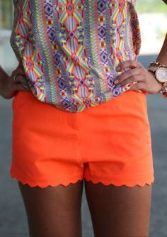 Neon scalloped shorts