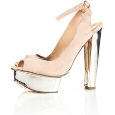 LETITIA Metallic Peep Sandals ($130) via Polyvore