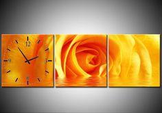 Canvas Klok Gele Roos