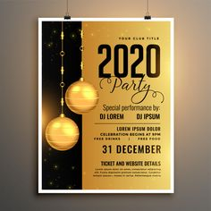 new year 2020 golden party flyer template design - Buy this stock vector and explore similar vectors at Adobe Stock Modele Flyer, Adobe Illustrator, New Year Text, Celebration Background, Free Calendar, Website Details, Vector Free Download, Festival Posters, New Year 2020