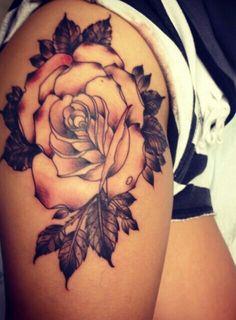 Gorgeous White Rose Thigh Tattoo