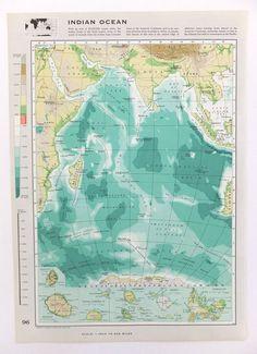 Vintage Indian Ocean map - Large Map of The Indian Ocean - beach house decor - seaside - paper ephemera on Etsy, £8.00