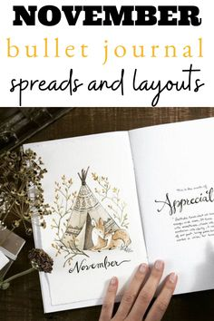 All the inspiration you need for a gorgeous Fall themed November monthly in your bullet journal! December Bullet Journal, Bullet Journal Monthly Spread, Calendar Layout, January February March April, Journal Covers, Autumn Theme, Floral, Creative, Magazine Covers