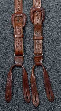 TOOLED LEATHER 1940's VINTAGE SUSPENDERS/BRACES - TOOLED BUCKLE ADJUSTERS AND BUTTON ATTACHMENTS -- Available for sale at rpvintage.com.
