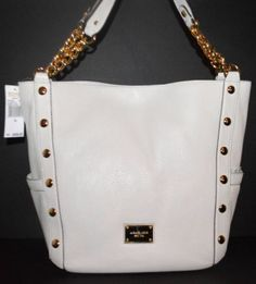 6372dab698 MICHAEL KORS Vanilla Leather Delancy Large Shoulder Chain Tote NWT RARE   498. Housewarming Party