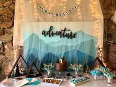 Woodland and hot air balloon adventure theme for a baby shower. Baby Shower Decorations For Boys, Boy Baby Shower Themes, Baby Shower Balloons, Boy Shower, Air Balloon, Balloon Backdrop, Balloon Columns, Balloon Decorations, Campfire Cake