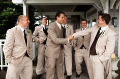 Like the tan suits; would do different vest for groom instead of pinstripes