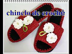 Chinelo de Crochê bordado com Flores - Aprender Croche - YouTube