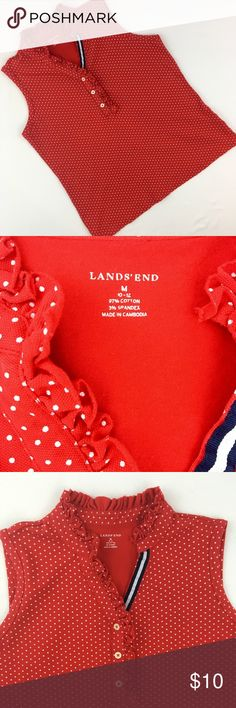 """Land's End Sleeveless Polka Dot Top Size M •Red with white polka dots •Ruffle trim on neck and placket, navy and white ribbon on the other side  •Good used condition, no rips, tears or stains •Chest 19 1/2"""", length 24"""" •97% cotton, 3% spandex Lands' End Tops Tank Tops"""